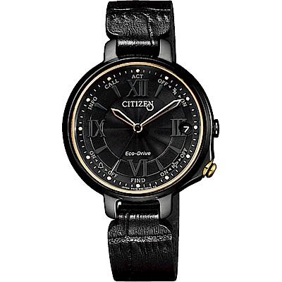 CITIZEN 星辰 100周年限量 光動能藍牙女錶-黑x金圈/33mm