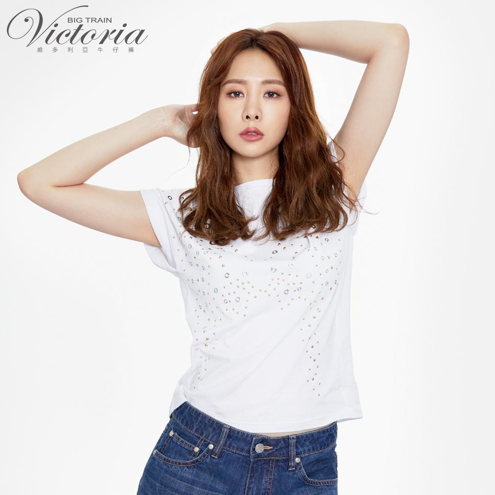 Victoria 多元貼片袖口剪接變化短袖T-女-白色