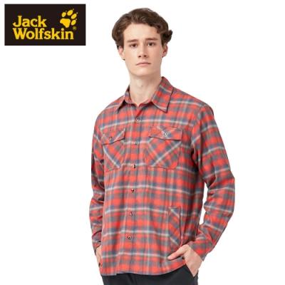 【Jack wolfskin 飛狼】男 長袖格子襯衫『橘色』