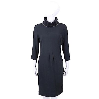 FABIANA FILIPPI 美麗諾羊毛領藍色極簡洋裝