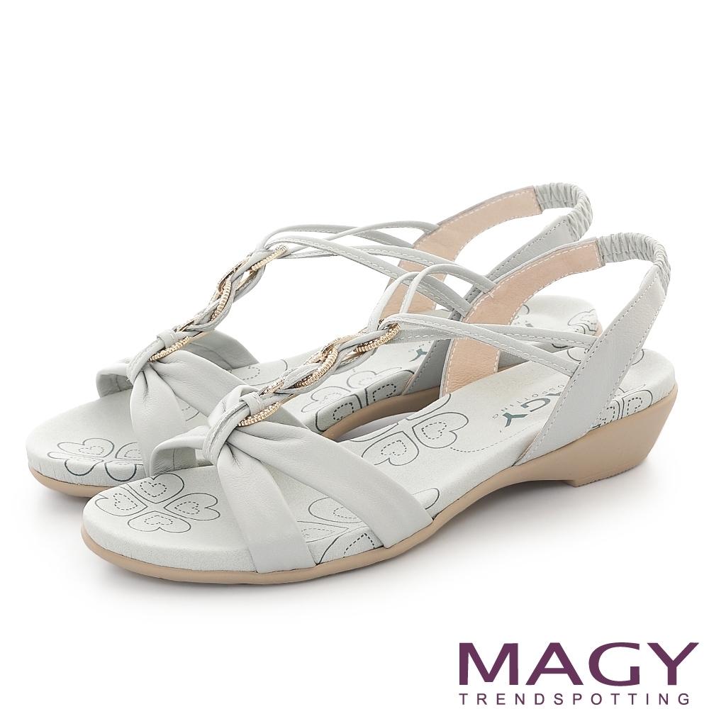 MAGY 圓形鑽飾牛皮編織平底 女 涼鞋 淺藍