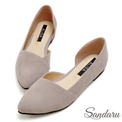 山打努SANDARU-MIT優雅絨布側空尖頭鞋-灰