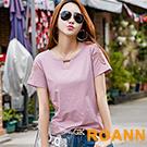 純色圓領縷空蝴蝶圖紋短袖T恤 (共六色)-ROANN