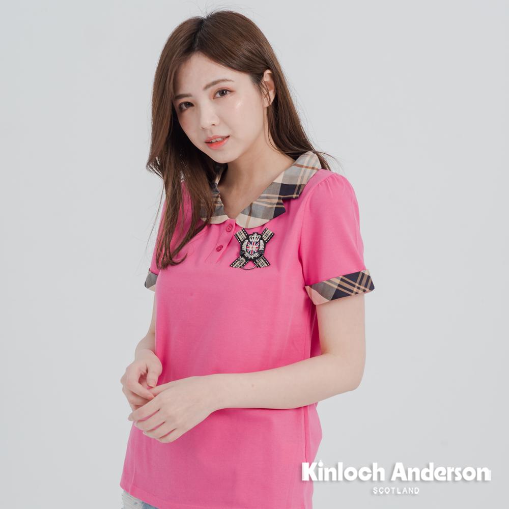 【Kinloch Anderson 金安德森女裝】領配格前徽章半開襟上衣