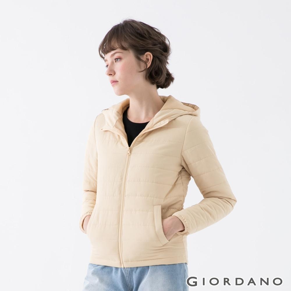 GIORDANO 女裝素色鋪棉連帽外套 - 15 杏仁白