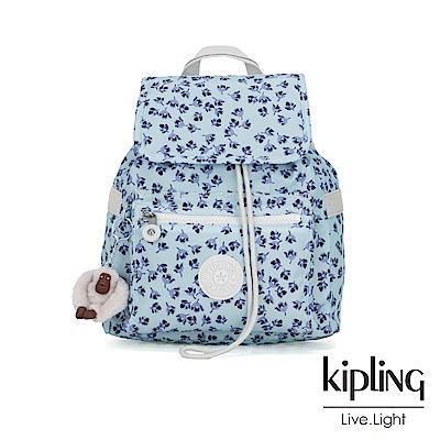 Kipling 典雅淡藍小花翻蓋束口後背包-NEW ELLA
