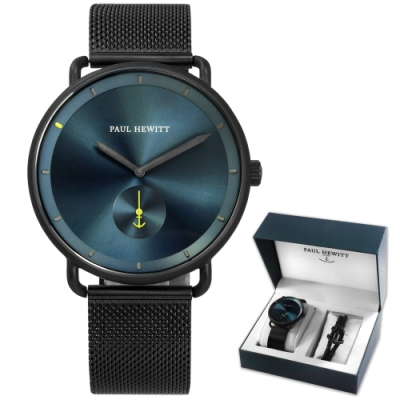 PH PAUL HEWITT 藍寶石水晶玻璃 不鏽鋼手錶手環禮盒組-藍x鍍黑/42mm