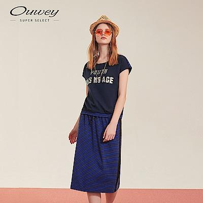 OUWEY歐薇 標語亮片兩件式條紋洋裝(藍)