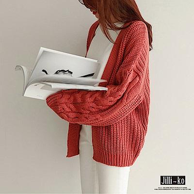 Jilli-ko 粗線麻花針織開衫外套-橘