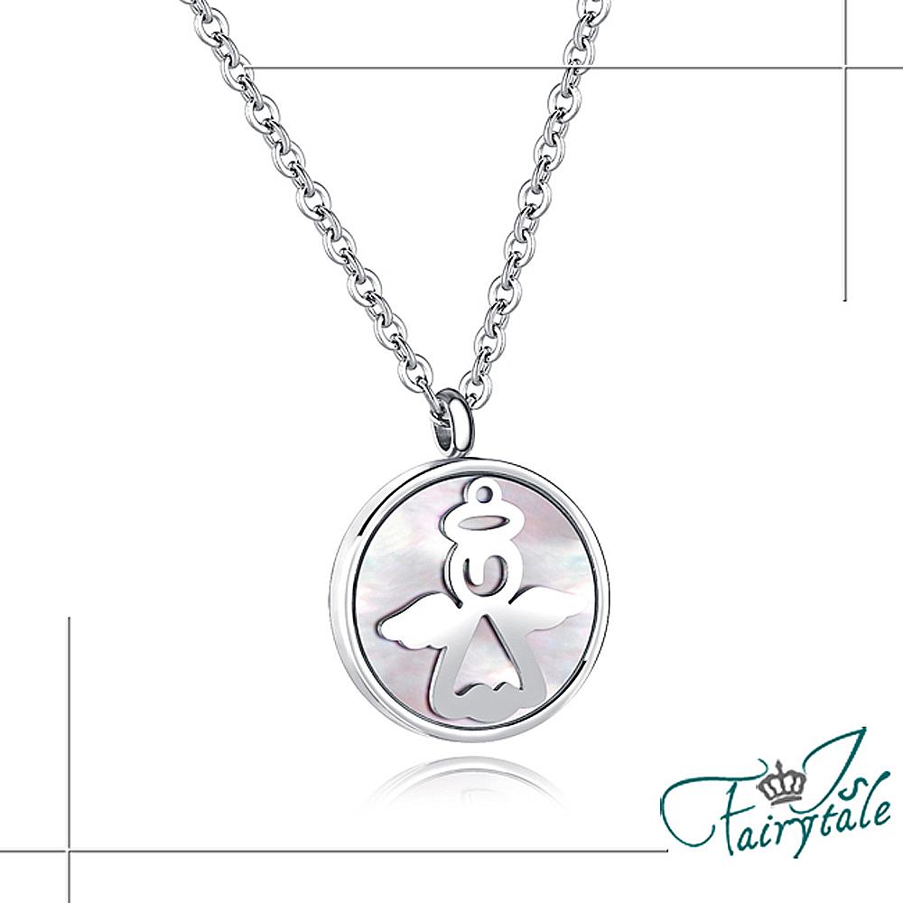 iSFairytale伊飾童話 雪銀圓幣 貝殼光白鋼鎖骨項鍊 天使