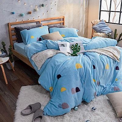 戀家小舖 / 法蘭絨  雙人加大床包兩用毯組  卡爾點點  保暖抗寒