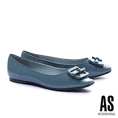 平底鞋 AS 氣質立體配飾超軟牛漆皮方頭平底鞋-藍