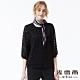 麥雪爾 法式雙層蕾絲七分袖上衣-黑 product thumbnail 1