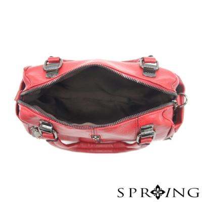 SPRING - 個性大拉鍊皮革手提包 -寶石紅