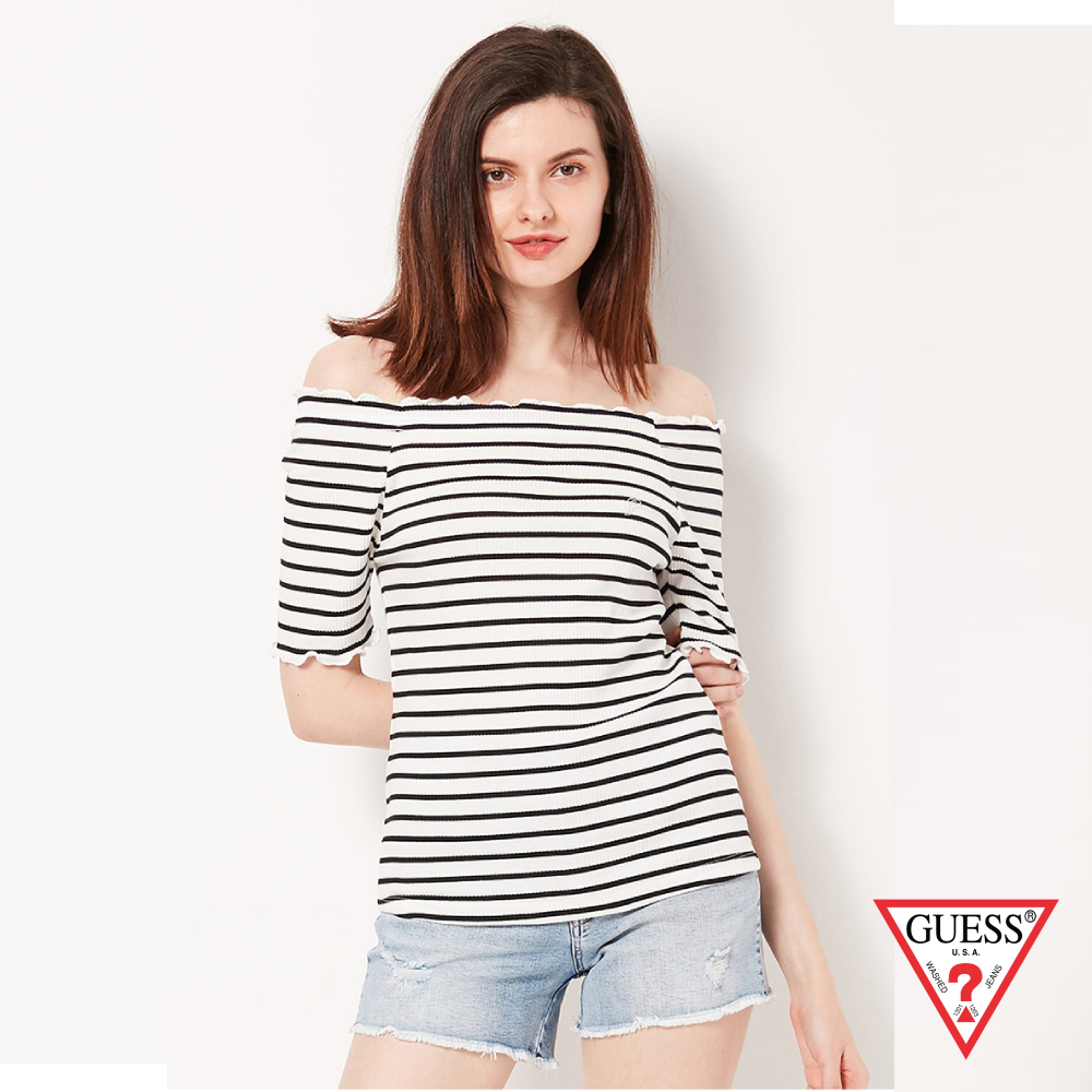 GUESS-女裝-一字領捲邊條紋短T,T恤-白 原價2490