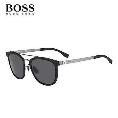 HUGO BOSS- BOSS 0861/F/S 復古眉框墨鏡 黑色