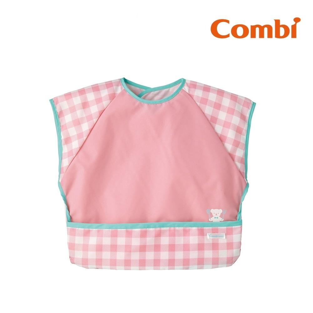 【Combi】Combimini短袖食事圍兜- 小熊粉紅格紋