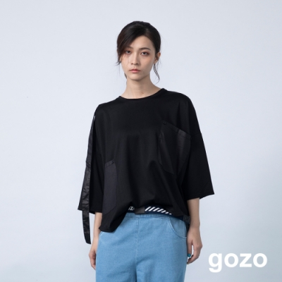 gozo 造型鈕扣織帶異材質拼接上衣(二色)