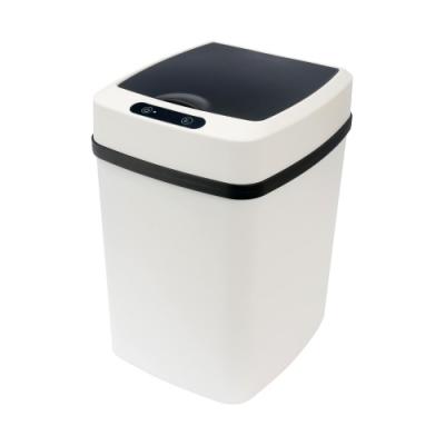 TRENY 雙色防潑水感應垃圾桶-黑白12L