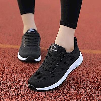 韓國KW美鞋館 休閒學生百搭網布運動鞋-黑色