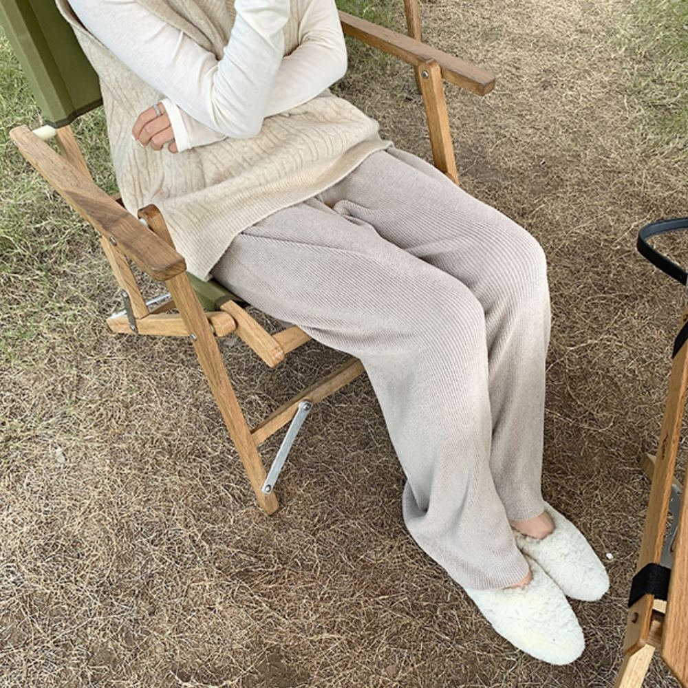 La Belleza素色鬆緊腰抽繩針織闊腿褲落地垂綴長褲