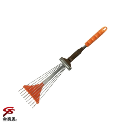 金德恩 台灣製造 9齒伸縮樹葉草耙子76x33cm/顏色隨機