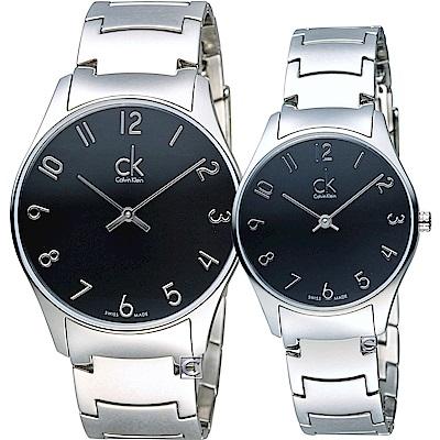 Calvin Klein  經典紐約時尚對錶(K4D2114X+K4D2214X)黑