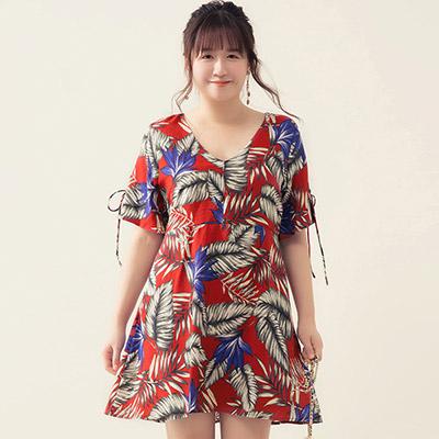 AIR SPACE PLUS 渡假印花造型袖口短洋裝(紅)