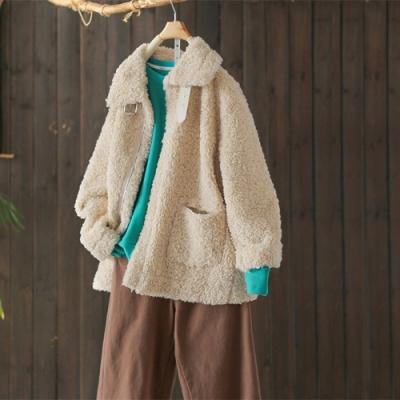 麂皮絨內裡仿羊羔毛外套寬鬆上衣-設計所在
