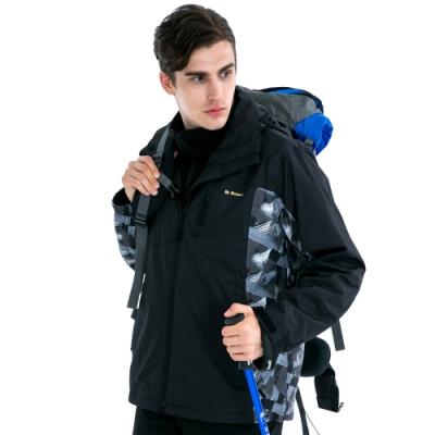 【St. Bonalt 聖伯納】男款兩件式4in1內刷毛衝鋒衣 (7253-黑色編紋) 防風 防水 保暖 透氣 耐磨