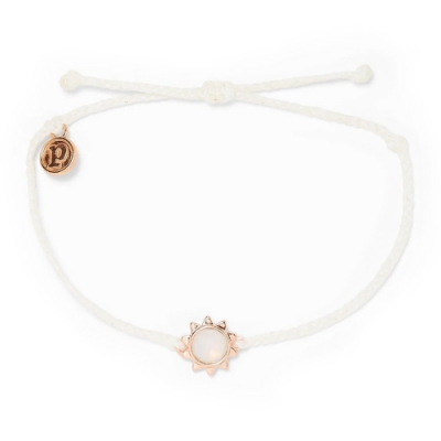 Pura Vida 美國手工 SUNKISSED 玫瑰金艷陽 白色蠟線衝浪手鍊手環