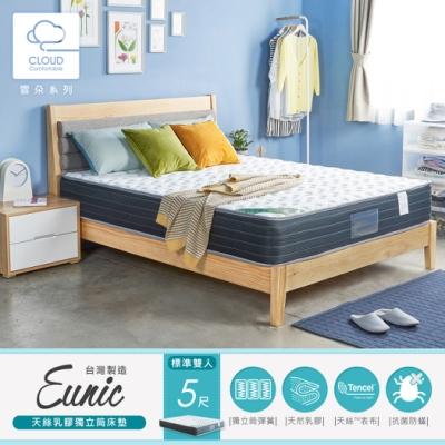H&D 尤妮絲天絲乳膠獨立筒床墊-雙人5尺