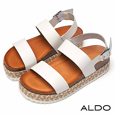 ALDO 原色真皮金屬釦帶佐麻花編織厚底涼鞋~清新白色