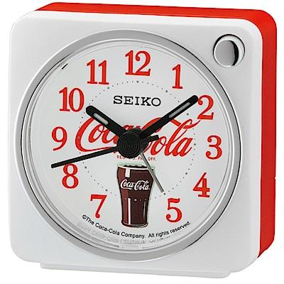 SEIKO 精工 可口可樂聯名款 靜音 貪睡鬧鐘(QHE905W)-白/<b>5</b>.8X5.7cm
