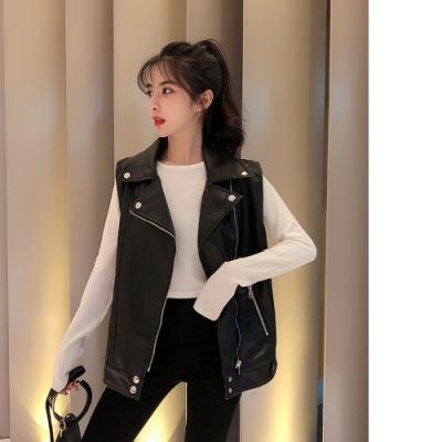 2F韓衣-個性翻領無袖皮衣外套-黑(L-XL)
