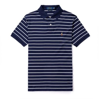 Polo Ralph Lauren 年度熱銷刺繡彩小馬吸濕排汗短袖POLO衫(CUSTOM SLIM)-深藍條紋色