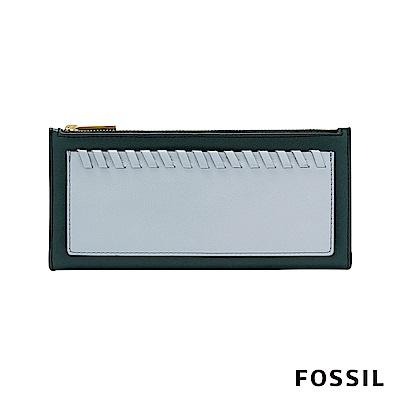 FOSSIL Shelby 真皮系列拉鍊長夾-深綠/粉藍