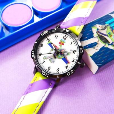 Disney 迪士尼 玩具總動員 巴斯光年 兒童卡通錶 皮革手錶-白x黑框x紫綠/32mm