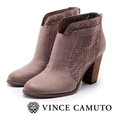 VINCE CAMUTO 真皮簍空刻紋拼接高跟踝靴-絨灰色