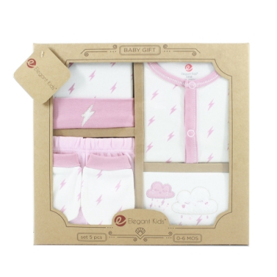 美國Elegant kids彌月禮盒-粉色小閃電5件式彌月禮盒