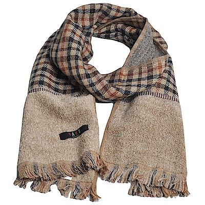 DAKS 日本製經典格紋棉質長圍巾(駝格)