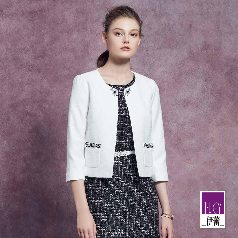 ILEY伊蕾 典雅花紋緹織短版外套(黑/白)