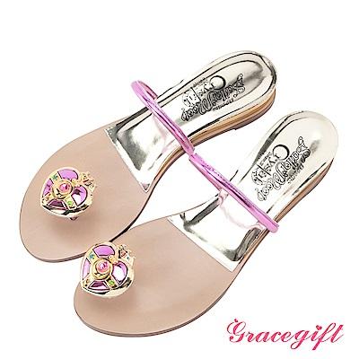 Grace gift-美少女戰士月光心鑽夾腳條帶拖鞋 桃紅
