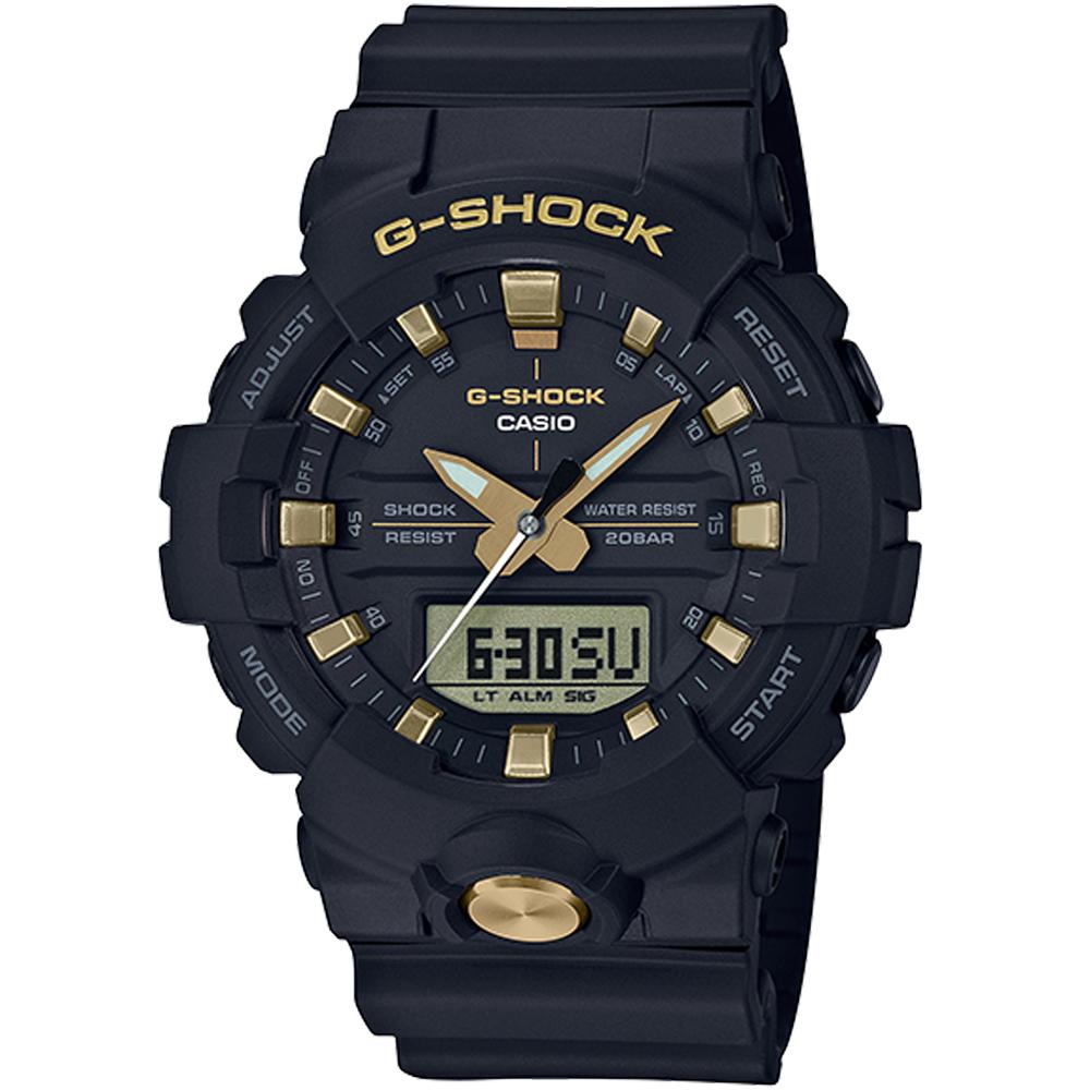 CASIO卡西歐G-SHOCK搶眼綴金雙顯腕錶(GA-810B-1A9)