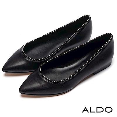 ALDO 原色真皮鞋墊綴金屬銀珠鞋緣尖頭粗跟鞋~尊爵黑色