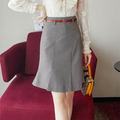 設計所在Lady-荷葉邊魚尾裙學院風短裙(S-XL可選)