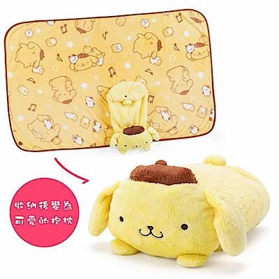 Sanrio 布丁狗可愛趴趴造型多用途靠墊毛毯(快樂音符)