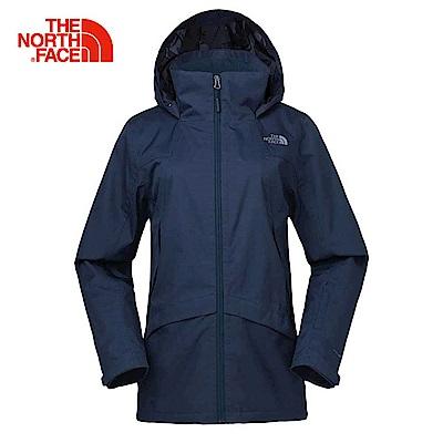 The North Face北面女款深藍色防水透氣衝鋒衣|3KTOH2G