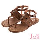 JMS-造型鉚釘鑲嵌繫帶環裸夾腳平底涼鞋-棕色