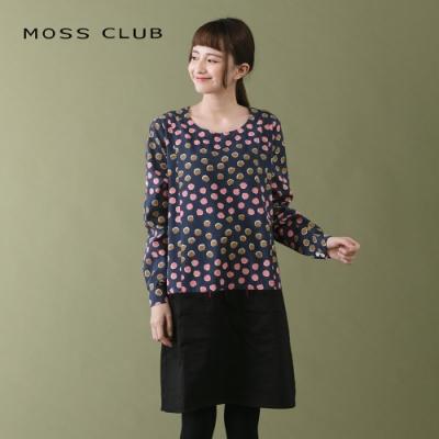 【MOSS CLUB】點點拼接素色-連身裙(二色)